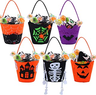 URATOT 6 Packs Halloween Felt Candy Holders Trick or Treat Bags Candy Buckets with Handle Pumpkin Treating Gift Bags for Halloween Decoration Party Supplies