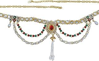 Memoir Brass Gold Plated, Colourful CZ,Kundan,Pearls Elegant Ethnic Kamarband Traditional Waistbelt Wedding Jewellery Women