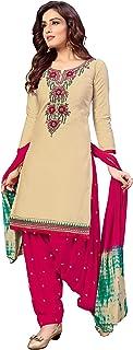 ARIA FABRICS Women's Embroidery Patiyala Salwar Suit