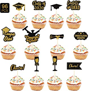 Outus 96 Pieces 2020 Graduation Cupcake Toppers, 2020 Graduation Party Decorations Cake Topper Glitter Cupcake Picks Congr...