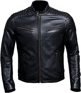 Artistry Leather Luxury Premium Handmade Genuine Lambskin Men's Leather Jacket for Bikers - Black