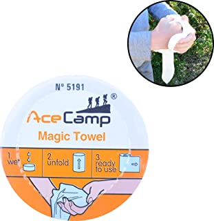 AceCamp Magic Hand Towels, Portable Compressed Wash-Cloth Rag, Compact Handkerchief, Instant Water Expansion, Camping, Backpacking, Hiking, Tiny, Mini