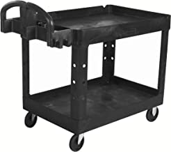 Rubbermaid Commercial Executive Series Heavy-Duty 2-Shelf Utility Cart with Quiet Casters, 500 lb capacity, Black (1867535)