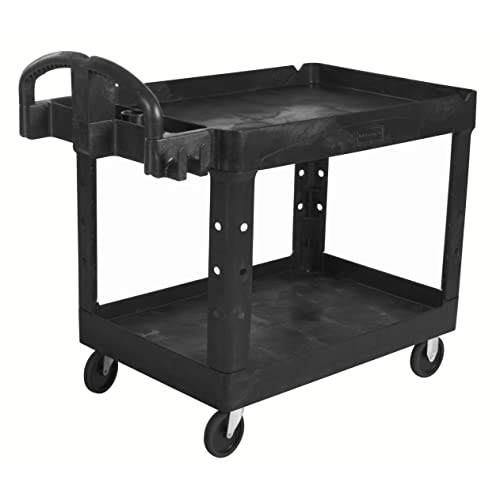 Rubbermaid Commercial Executive Series Heavy-Duty 2-Shelf Utility Cart with Quiet Casters,