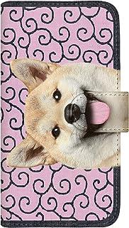 CaseMarket 手帳型 ケース レザー 厚手タイプ docomo らくらくスマートフォン3 (F-06F) ZAKKA ZOO 散歩の首輪は唐草風呂敷だワン!つぶらな瞳 柴犬 2465 ピンク唐草