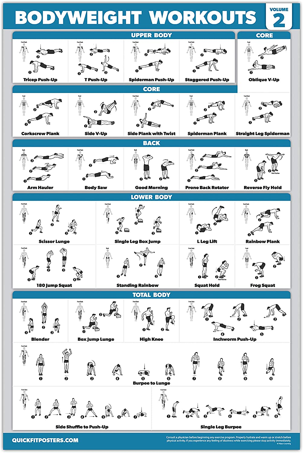 Set of 3 Workout Charts Suspension Exercises Poster Set Palace Learning 3 Pack Bodyweight Workout Posters Volume 1 /& 2