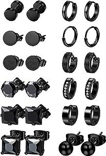 Jstyle 12 Pairs Stainless Steel CZ Stud Earrings for Women Mens Huggie Hoop Earrings Set Black
