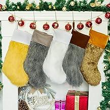 XENTUMI Christmas Stockings Set of 4, Large Faux Fur Family Christmas Stocking 4 Pack for Farmhouse Décor, Luxury Xmas Sto...