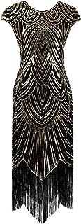 YENMILL 1920s Sequin Gatsby Maxi Long Evening Prom Mermaid Hem Dress w/Accessories Set