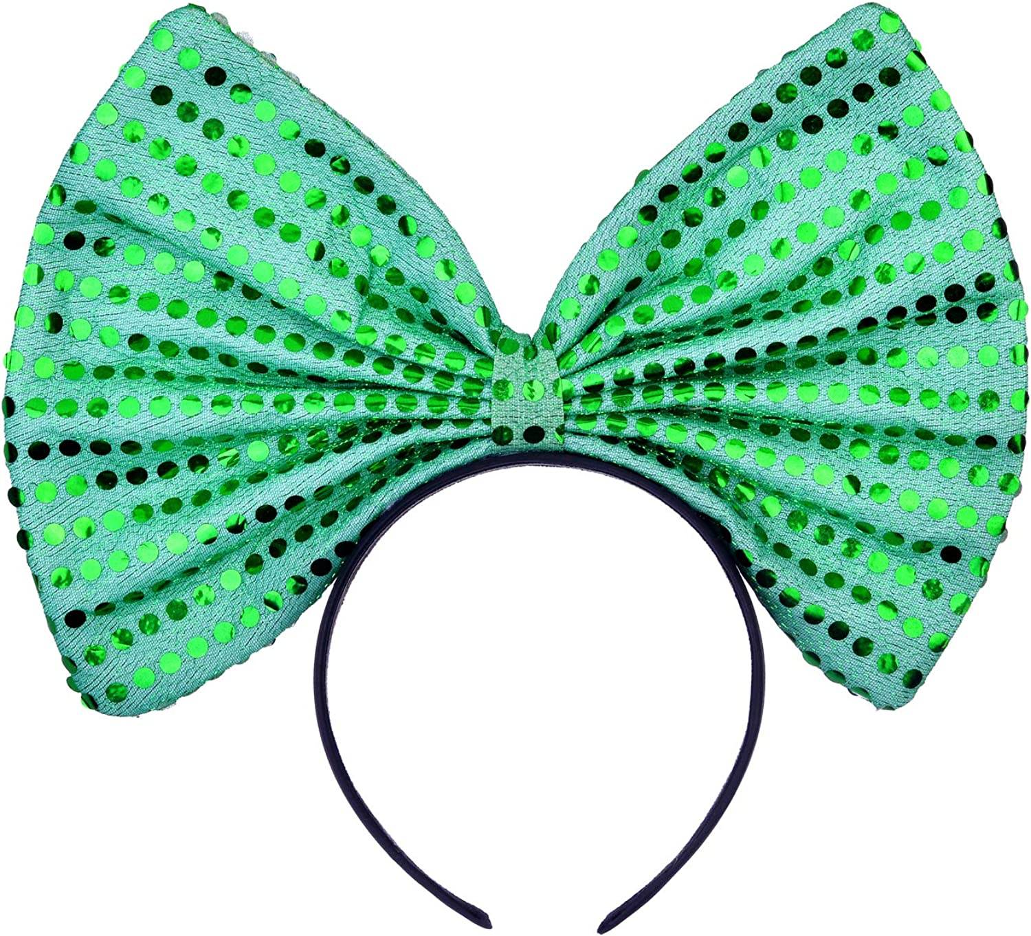 Lux Accessories Christmas Huge Green Polka Sequins Bow Black Costume Holidays Fashion Headband