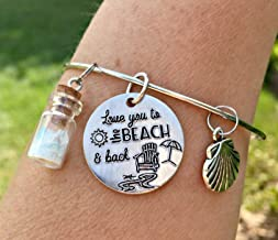 Love You To The Beach & Back Bangle Bracelet with Seaglass Bottle