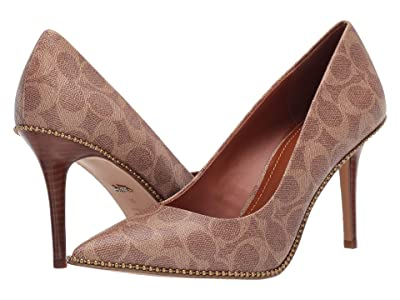 COACH 85 mm Waverly Pump with Beadchain (Tan Coated Canvas) Women