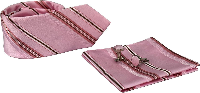 Peach Couture Luxurious Mens Silk Feel Stripe Necktie Cufflinks Handkerchief Set