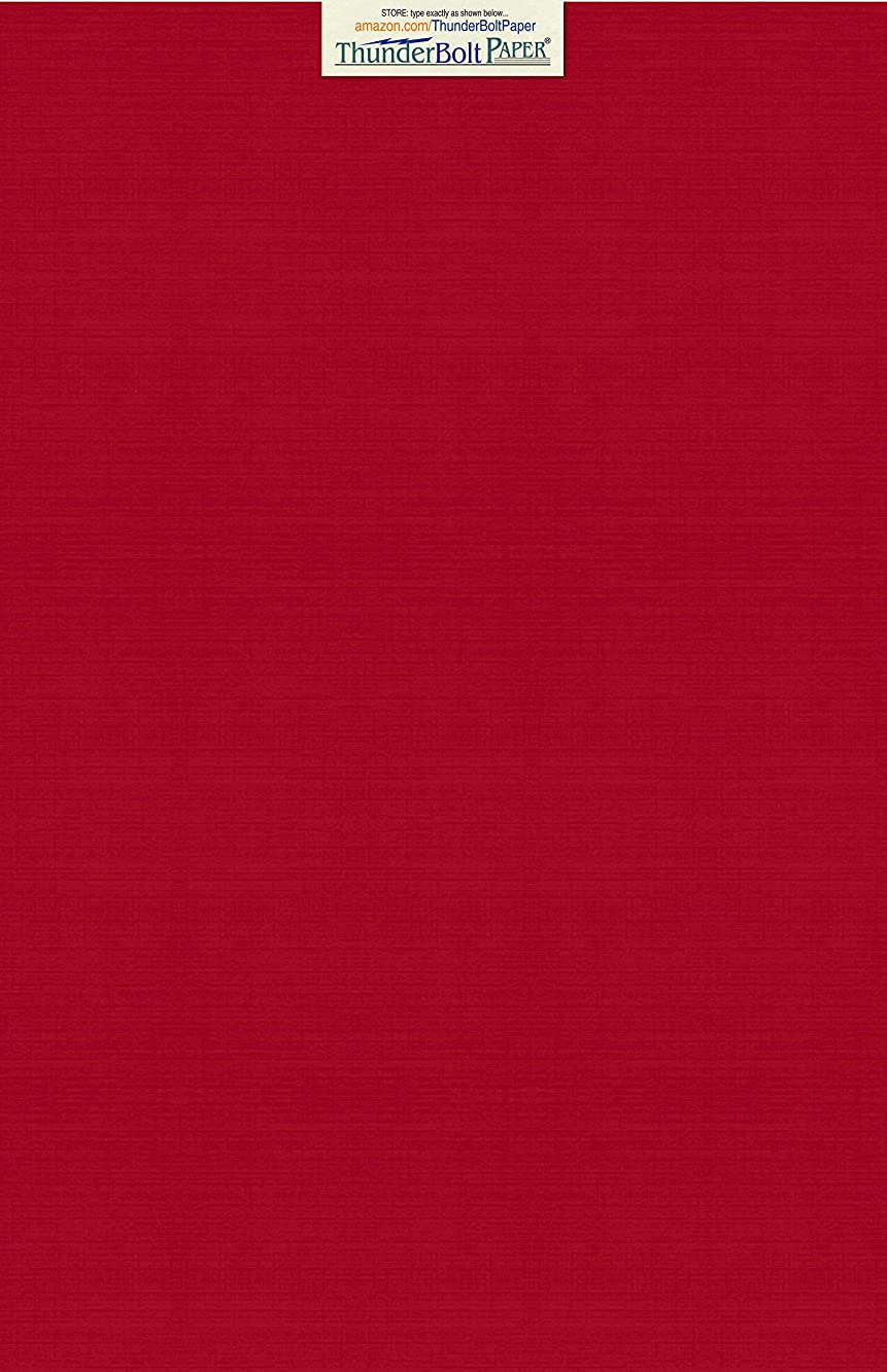 15 Deep Bright Red Linen 80# Cover Paper Sheets - 11