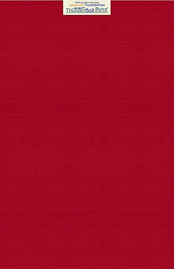 15 Bright Red Linen 80# Cover Paper Sheets - 12