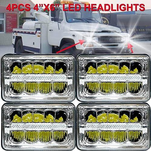 wholesale For Chevrolet S10 R20 outlet sale R30 V10 V20 V30 1981-87 LED Headlight 4x6 Inch Hi/Lo online sale Sealed Beam Rectangular Lights Compatible with H4651 H4652 H4656 H4668 H6545 Headlamp Assembly, Pack-4 sale