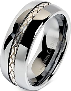 100S JEWELRY 8mm Men's Tungsten Carbide Ring Silver Rope Inlay Wedding Band Size 8-16 Comfort Fit