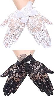 2 Pairs Short Lace Gloves Bridal Wedding Wrist Lace Gloves Vintage Sunscreen Floral Gloves for Women Girls (Color Set 2)