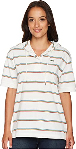 Lacoste Short Sleeve Pique Rainbow Stripes Polo