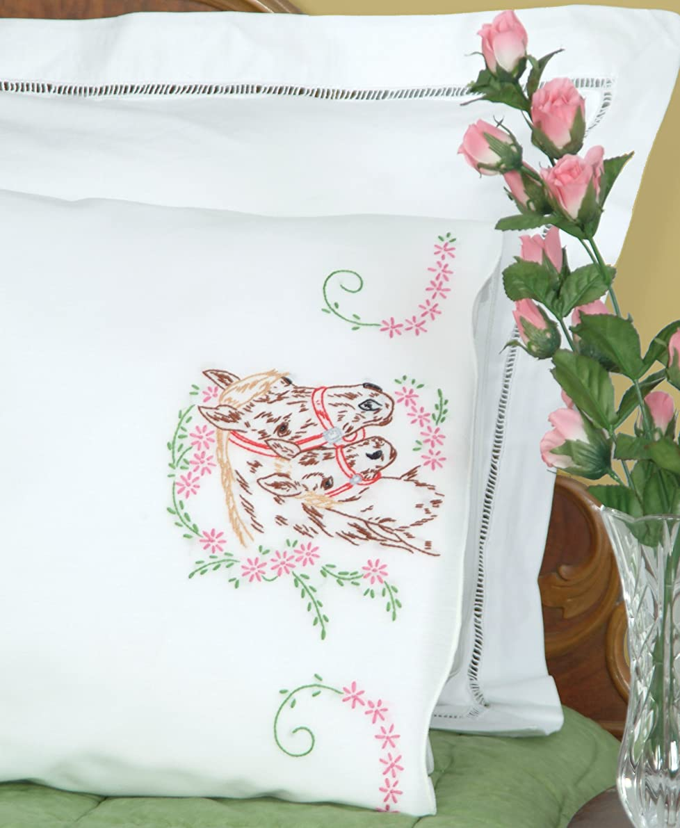 Jack Dempsey Needle Art 1600142 Perle Edge Pillowcase, Mare and Colt with Perle Edge Finish, 20-Inch by 30-Inch, White