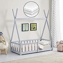 [en.casa] Barnsäng med madrass 70 x 140 cm ljusgrå med fallskydd i Tipi-design av furu ungdomssäng äng träsäng hussäng