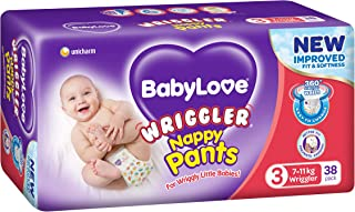 BABYLOVE Nappy Pants Wriggler Nappy Pants 7-11kg (38 pack x 2), Size 3