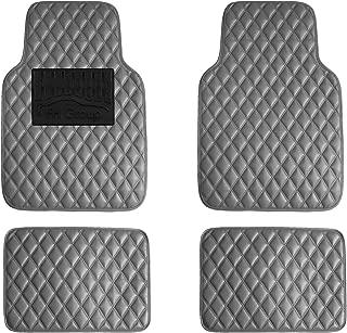 FH Group F12002GRAY Luxury Universal All-Season Heavy-Duty Faux Leather Car Floor Mats Diamond Design w. High Tech 3-D Anti-Skid/Slip Backing