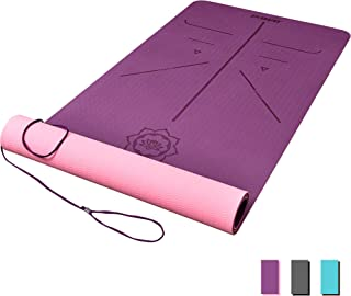 DAWAY Eco Friendly TPE Yoga Mat Y8 Wide Thick Workout Exercise Mat,  Non Slip Grip Pilates Mats,  Body Alignment System,  Tear Resistant,  with Carrying Strap,  72x 26 Thickness 6mm
