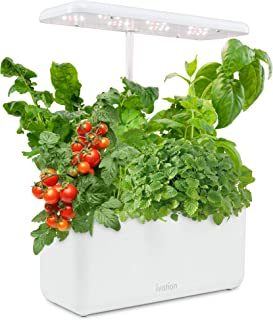 Ivation 7-Pod Indoor Herb Garden Kit, Hydroponic Germination System with Adjustable LED Lamp, Bamboo Planter Baskets, Circ...