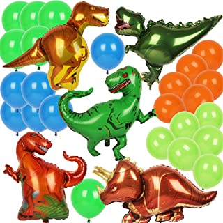Dinosaur Balloons - Triceratops T-rex Raptor Allosaurus - 5 Foil Dinosaur Balloons Inflatable Party Supplies and Decorations for Kids