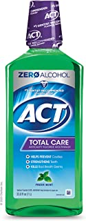 ACT Total Care Anticavity Fluoride Mouthwash Fresh Mint, 33.8 Fl Oz Bottle (Pack of 3)