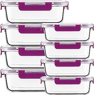 UMIZILI Lot de 8boîtes de rangement, en verre, avec couvercles