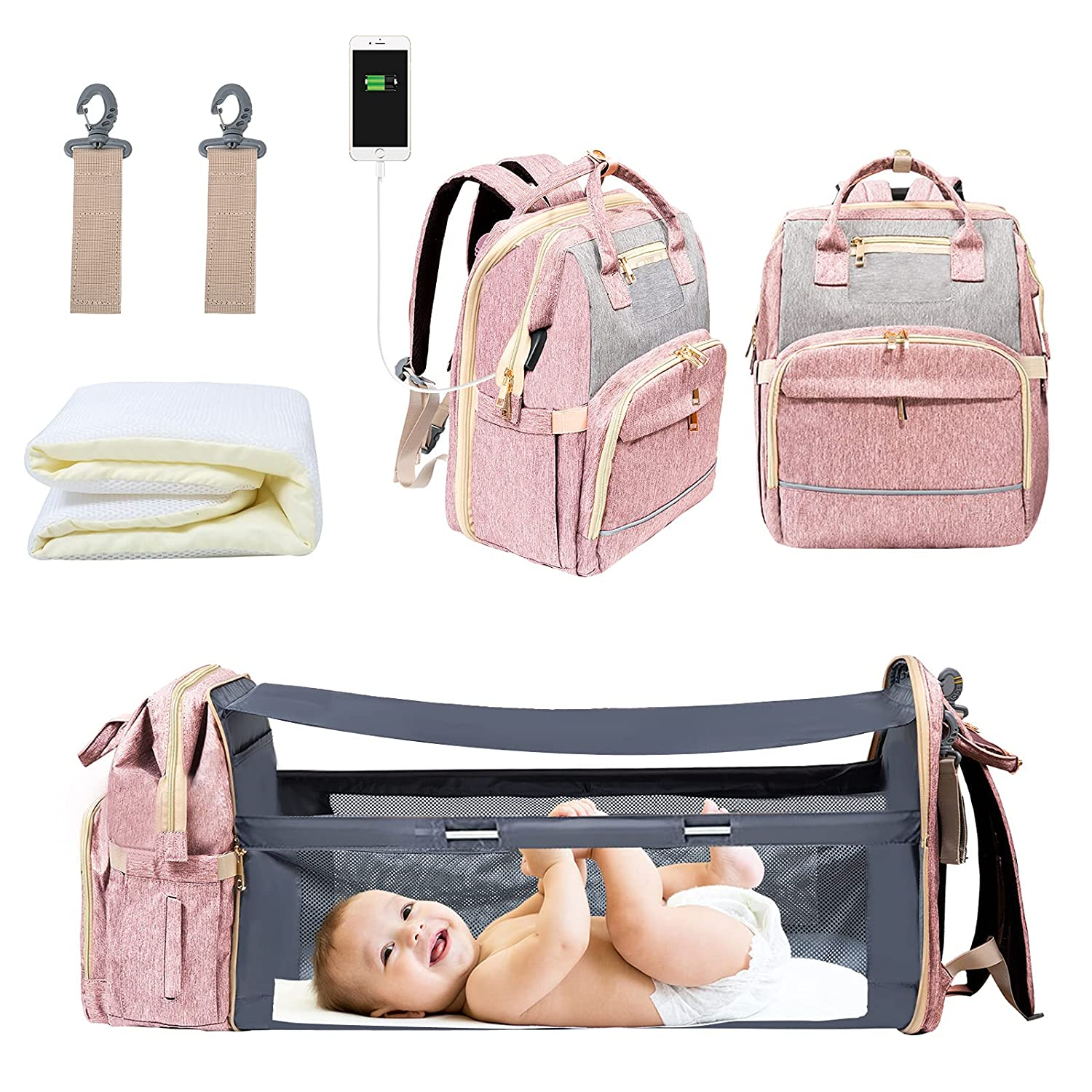 WiseWater Diaper Bag Backpack with Changing Station, Portable Travel Bassinets for Babies, Waterproof Mommy Bag with Foldable Crib USB Charging Port, The Changing Bed for Baby Girls Boys (Pink)