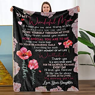TURMTF Personalized Blankets to Wonderful Mom Gift from Daughter Christmas Birthdays Soft Throw Blankets Bed Healing Blank...