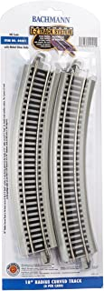 """Bachmann Trains - Snap-Fit E-Z Track 18"""" Radius Curved Track (4/Card) - Nickel Silver Rail with Gray Roadbed - HO Scale"""