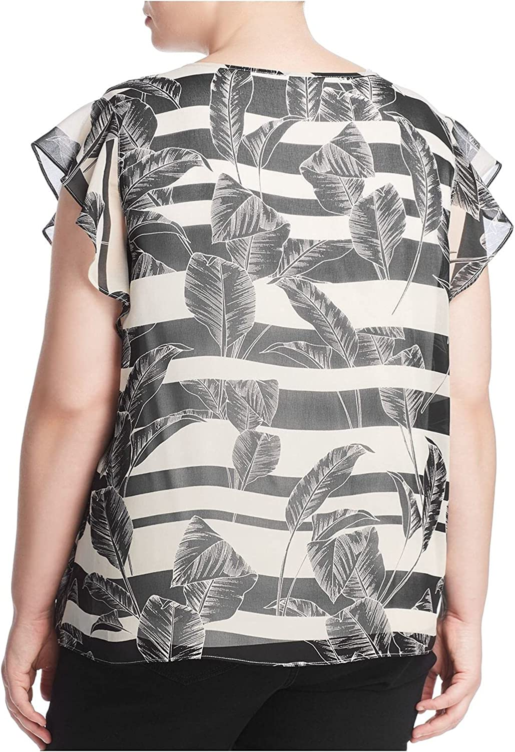 Vince Camuto Specialty Size Womens Plus Size Flutter Sleeveless Tropical Shadows Chiffon Blouse Rich Black 2X (US 18W-20W)