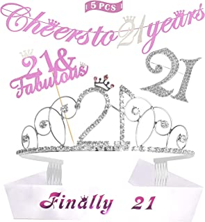 21st Finally Legal Birthday Crystal Birthday Tiara/Crown and Glitter Sash, Cheers to 21 Years Banner, 21 Fabulous Cake Topper, 21 Rhinestone Brooch, 21st Birthday Party Decoration, Supplies, Gift (Silver)