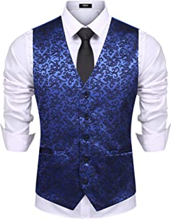 URRU Men's Classic Paisley Floral Single Breasted V-Neck Suit Tuxedo Vest Wedding Waistcoat