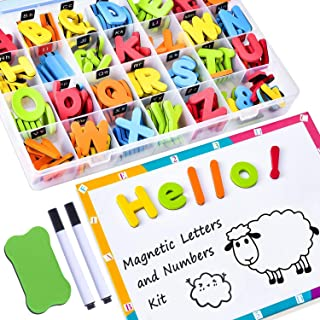 SooFam 225Pcs Magnetic Letters for Kids with Double-Side Magnet Board and Storage Box - ABC Uppercase Lowercase Foam Alpha...