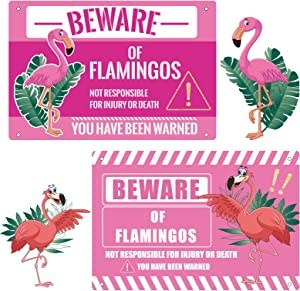 2 Pieces Pink Flamingo Sign 11.8 x 7.9 Inches Beware of Flamingo Warning Metal Sign Flamingo Yard Decorations for Home Lawn Living Room Bedroom Flag Lamp Party Stickers, 2 Styles