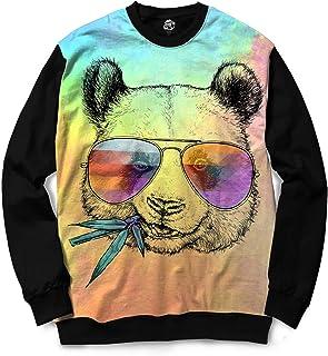 Moletom Gola Careca BSC Animais Hipster Panda Sublimada Rosa