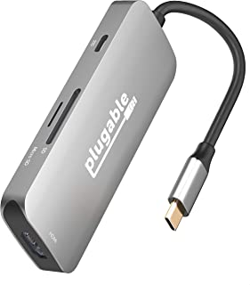 Plugable USB C Hub Multiport Adapter, 7-in-1 Hub Compatible with MacBook Pro, Windows, Chromebook, Dell XPS, Thunderbolt 3...