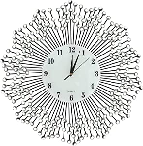 """LuLu Decor, Celebration Decorative Wall Clock 23"""", White Glass Number Dial 8.5"""", Handmade Metal Clock for Living Room, Bedroom, Office Space"""