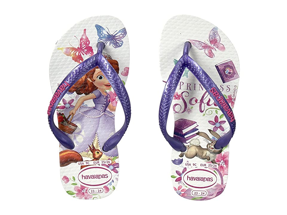 Havaianas Kids Slim Princess Sofia Flip Flops (Toddler/Little Kid/Big Kid) (White) Girls Shoes