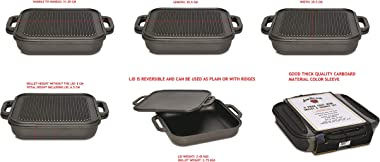 Jim Beam 3-in-1 Cast Iron Skillet with Double Sided Griddle, 3, Black