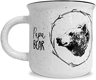 Papa Bear White Ceramic Campfire 14 ounce Coffee Mug - Perfect for Him - New Dad, Husband, Grandpa, Expectant Father - by MKT ST