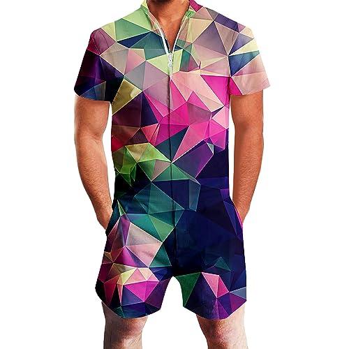 7162d1bb3e84 Goodstoworld Mens 2019 New Designed Rompers 3D Fashion Print Short Sleeve  Zip One Piece Summer Jumpsuit