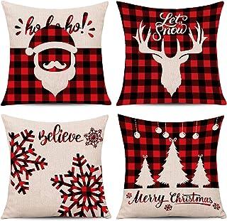 Whaline 4 Stuks Rood Zwart Kerst Schotse Buffalo Dammen Plaid Kussensloop Santa Rendier Sneeuw X-mas Boom Kussenhoes, Kato...