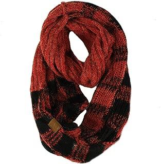 CC Buffalo Plaid Soft Chunky Pullover Knit Long Infinity Hood Cowl Scarf