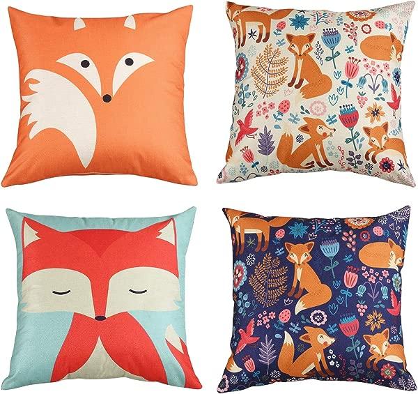 MeritChoice Fox Pillow Cover Case Fox Throw Pillow Home Decorative Cute Pillow Set Of 4 18x18 Inch Cotton Linen